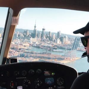 Flying towards Auckland City in a Heletranz Helicopter