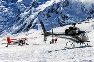 Mount Cook Ski Planes & helicopters landing on a glacier