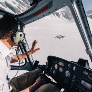 Mount cook ski plane on the glacier from inside a helicopter